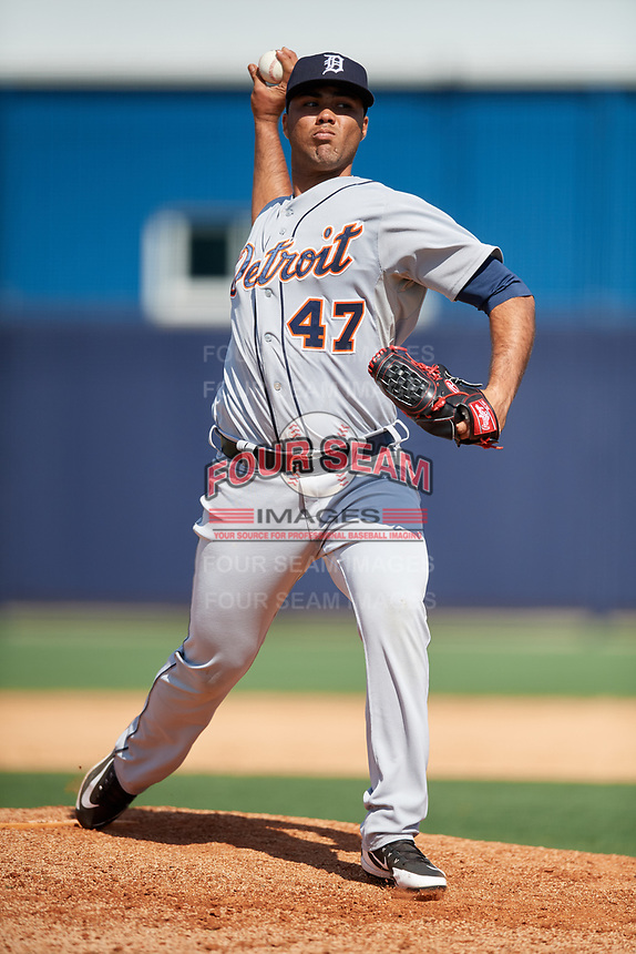 Detroit Tigers pitcher Eduardo Jimenez (47) during a Minor League Spring Training game against the New York Yankees on March 21, 2018 at the New York Yankees Minor League Complex in Tampa, Florida.  (Mike Janes/Four Seam Images)