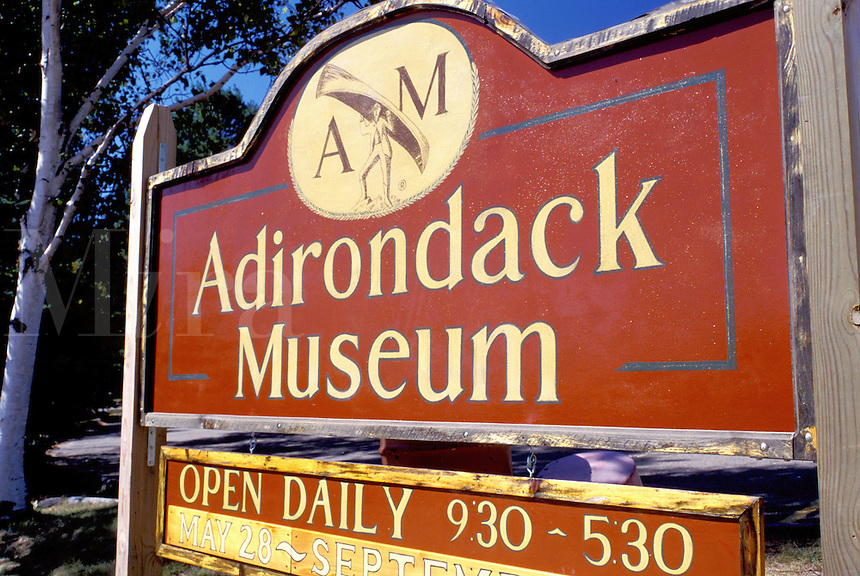 Adirondacks, Blue Mountain Lake, New York, NY, Adirondack Museum, sign
