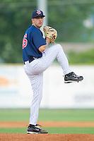 Pat Dean #46 of the Elizabethton Twins at Joe O'Brien Field August 14, 2010, in Elizabethton, Tennessee.  Photo by Brian Westerholt / Four Seam Images