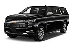 2021 Chevrolet Suburban Premier 5 Door SUV Angular Front automotive stock photos of front three quarter view
