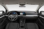 Stock photo of straight dashboard view of 2021 Volkswagen Golf-Variant Life-HEV 5 Door Wagon Dashboard