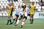 GER - Mannheim, Germany, May 24: During the U16 Girls match between Australia (green) and Germany (white) during the international witsun tournament on May 24, 2015 at Mannheimer HC in Mannheim, Germany. Final score 0-6 (0-3). (Photo by Dirk Markgraf / www.265-images.com) *** Local caption *** Emma Davidsmeyer #4 of Germany, Inma Sophia Hofmeister #11 of Germany