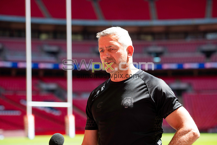 Picture by Allan McKenzie/SWpix.com - 16/07/2021 - Rugby League - Betfred Challenge Cup Final 2021 - Castleford Captains Run - Wembley Stadium, London, England - Castleford's coach Daryl Powell  interviewed after their captain's run session at Wembley.