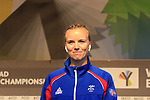 Agusta Edda Bjornsdottir of Iceland at sign on for the start of the Women Elite Road Race of the UCI World Championships 2019 running 149.4km from Bradford to Harrogate, England. 28th September 2019.<br /> Picture: Eoin Clarke | Cyclefile<br /> <br /> All photos usage must carry mandatory copyright credit (© Cyclefile | Eoin Clarke)