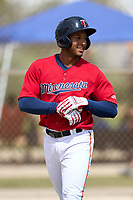 FCL Twins Emmanuel Rodriguez (4) smiles after hitting a home run during a game against the FCL Boston Red Sox on July 3, 2021 at CenturyLink Sports Complex in Fort Myers, Florida.  (Mike Janes/Four Seam Images)