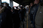 Marine 1 Hyde United 0, 12/12/2020. Marine Travel Arena, FA Trophy First Round. Spectators in the shed watching the first-half as Marine play Hyde United in an FA Trophy first round tie at the Marine Travel Arena, formerly known as Rossett Park, in Crosby. Due to coronavirus regulations which had suspended league games, the Merseysiders' only fixtures were in cup competitions, including their forthcoming tie against Tottenham Hotspur in the FA Cup third round. Marine won the game by 1-0, watched by a permitted capacity of 400, with the visitors having two men sent off in the second half. Photo by Colin McPherson.