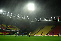 26th December 2020; Vicarage Road, Watford, Hertfordshire, England; English Football League Championship Football, Watford versus Norwich City; Heavy rain comes down during the game