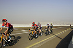 Jack Haig (AUS) and Damiano Caruso (ITA) Bahrain Victorious with Mattias Jensen (DEN) Trek-Segafredo, Ben Hermans (BEL) Israel Start-up Nation and Louis Meintjes (RSA) Intermarché-Wanty-Gobert Matériaux on the final climb of Stage 3 of the 2021 UAE Tour running 166km from Al Ain to Jebel Hafeet, Abu Dhabi, UAE. 23rd February 2021.  <br /> Picture: Eoin Clarke | Cyclefile<br /> <br /> All photos usage must carry mandatory copyright credit (© Cyclefile | Eoin Clarke)