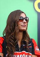 Feb 7, 2014; Pomona, CA, USA; NHRA top fuel dragster driver Leah Pritchett during qualifying for the Winternationals at Auto Club Raceway at Pomona. Mandatory Credit: Mark J. Rebilas-