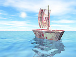 Boat with Indian currency notes