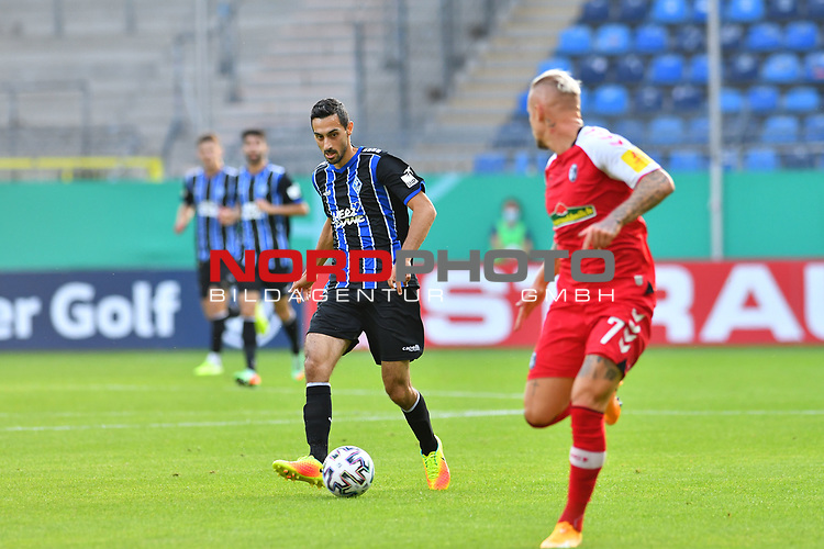 13.09.2020, Carl-Benz-Stadion, Mannheim, GER, DFB-Pokal, 1. Runde, SV Waldhof Mannheim vs. SC Freiburg, <br /> <br /> DFL REGULATIONS PROHIBIT ANY USE OF PHOTOGRAPHS AS IMAGE SEQUENCES AND/OR QUASI-VIDEO.<br /> <br /> im Bild: Rafael Garcia (SV Waldhof Mannheim #16)<br /> <br /> Foto © nordphoto / Fabisch