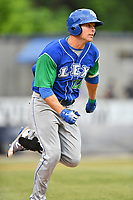 Lexington Legends left fielder Brewer Hicklen (28) runs to first base during a game against the Asheville Tourists at McCormick Field on May 25, 2018 in Asheville, North Carolina. The Tourists defeated the Legends 6-4. (Tony Farlow/Four Seam Images)