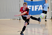 Lachlainn McMahon of Selwyn College during the Futsal NZ Secondary Schools Junior Boys Final between Hamilton Boys High School and Selwyn College at ASB Sports Centre, Wellington on 26 March 2021.<br /> Copyright photo: Masanori Udagawa /  www.photosport.nz