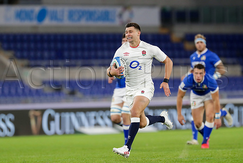 31st October 2020, Olimpico Stadium, Rome, Italy; Six Nations International Rugby Union, Italy versus England;  Ben Youngs (England) open field run leading to an England try