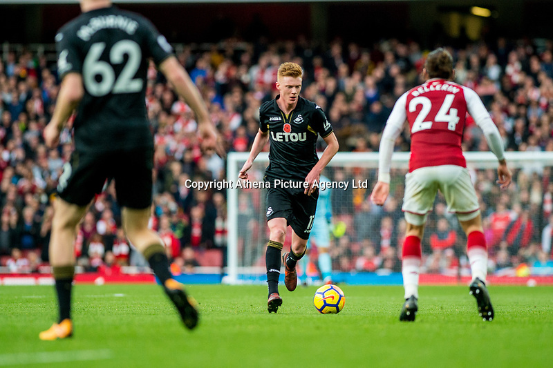 Sam Clucas of Swansea City in action during the Premier League match between Arsenal and Swansea City at Emirates stadium, London, England, UK. Saturday 28 October 2017