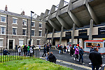 The concrete of the East Stand at St James Park contrasting with the adjacent  Georgian style houses. Newcastle v West Ham, August 15th 2021. The first game of the season, and the first time fans were allowed into St James Park since the Coronavirus pandemic. 50,673 people watched West Ham come from behind twice to secure a 2-4 win.