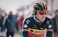 Belgian National Champion Oliver Naesen (BEL/AG2R-La Mondiale) on his way to the start<br /> <br /> 70th Kuurne-Brussel-Kuurne 2018<br /> Kuurne › Kuurne: 200km (BELGIUM)