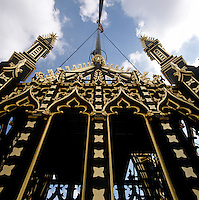 The flagpole on top of Victoria Tower is encased in what must be one of the grandest bases in existence