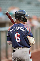 Jake McCarthy (6) of the Reno Aces during the game against the Salt Lake Bees at Smith's Ballpark on August 24, 2021 in Salt Lake City, Utah. The Aces defeated the Bees 6-5. (Stephen Smith/Four Seam Images)