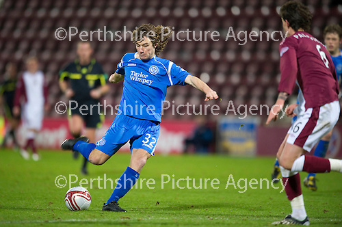 Hearts v St Johnstone....11.01.11  Scottish Cup.Stevie May shoots for goal.Picture by Graeme Hart..Copyright Perthshire Picture Agency.Tel: 01738 623350  Mobile: 07990 594431