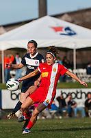 Western New York Flash midfielder Angela Salem (6) and Sky Blue FC midfielder Katy Freels (Frierson) (23). Sky Blue FC defeated the Western New York Flash 1-0 during a National Women's Soccer League (NWSL) match at Yurcak Field in Piscataway, NJ, on April 14, 2013.