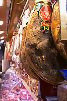 On a street market. On a street market. Ham. Barcelona, Catalonia, Spain.