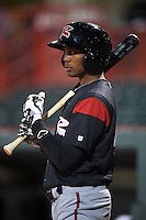 Richmond Flying Squirrels outfielder Daniel Carbonell (46) on deck during a game against the Erie Seawolves on May 19, 2015 at Jerry Uht Park in Erie, Pennsylvania.  Richmond defeated Erie 8-5.  (Mike Janes/Four Seam Images)
