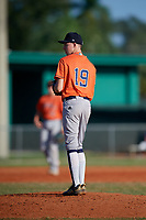 AJ Prendergast (19) during the WWBA World Championship at Lee County Player Development Complex on October 9, 2020 in Fort Myers, Florida.  AJ Prendergast, a resident of Coral Springs, Florida who attends Coral Springs Charter School.  (Mike Janes/Four Seam Images)