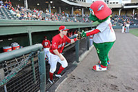 Right fielder Danny Mars (12) of the Greenville Drive bumps fists with mascot Reedy Rip'It as he is introduced before a game against the Lexington Legends on Sunday, August 31, 2014, at Fluor Field at the West End in Greenville, South Carolina. Mars is a sixth-round pick of the Boston red Sox in the 2014 First-Year Player Draft out of Chipola College. Greenville won, 3-2. (Tom Priddy/Four Seam Images)
