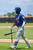 New York Mets Luis Carpio (11) during a Minor League Spring Training game against the Houston Astros on April 27, 2021 at FITTEAM Ballpark of the Palm Beaches in Palm Beach, Fla.  (Mike Janes/Four Seam Images)