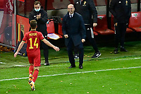 15th November 2020; Leuven, Belgium;   Dries Mertens forward of Belgium celebrates scoring his goal with Roberto Martinez head coach of Belgian Team during the UEFA Nations League match group stage final tournament - League A - Group 2 between Belgium and England