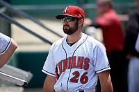 Indianapolis Indians Christian Kelley (26) during an International League game against the Syracuse Mets on July 17, 2019 at Victory Field in Indianapolis, Indiana.  Syracuse defeated Indianapolis 15-5  (Mike Janes/Four Seam Images)
