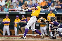 LSU Tigers second baseman Jared Foster (17) swings the bat against the TCU Horned Frogs in Game 10 of the NCAA College World Series on June 18, 2015 at TD Ameritrade Park in Omaha, Nebraska. TCU defeated the Tigers 8-4, eliminating LSU from the tournament. (Andrew Woolley/Four Seam Images)