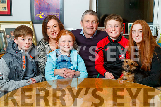 Pa Daly, Sinn Fein with his wife Mary and children Sean, Farren, Fionn and Ailbhe and Buster the dog at their home in Tralee.