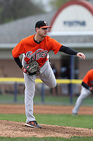 Norfolk Tides pitcher Chris George #32 delivers a pitch during a game against the Empire State Yankees at Dwyer Stadium on April 22, 2012 in Batavia, New York.  Empire State defeated Norfolk 6-5, the Yankees are playing all their games on the road this season as their stadium gets renovated.  (Mike Janes/Four Seam Images)