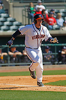 University of Virginia Cavaliers catcher Robbie Coman (8) at bat during a game against the Liberty University Flames at Joseph P. Riley Ballpark on February 17, 2017 in Charleston, South Carolina. Virginia defeated Liberty 10-2. (Robert Gurganus/Four Seam Images)