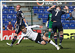 Ross County v St Johnstone…..30.04.16  Global Energy Stadium, Dingwall<br />David Wotherspoon is sent flying by Michael Gardyne<br />Picture by Graeme Hart.<br />Copyright Perthshire Picture Agency<br />Tel: 01738 623350  Mobile: 07990 594431