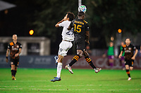 LAKE BUENA VISTA, FL - JULY 23: Ethan Zubak #29 of the LA Galaxy and Maynor Figueroa #15 of the Houston Dynamo battle for the ball during a game between Los Angeles Galaxy and Houston Dynamo at ESPN Wide World of Sports on July 23, 2020 in Lake Buena Vista, Florida.
