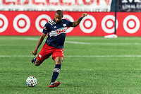 FOXBOROUGH, MA - AUGUST 29: Andrew Farrell #2 of New England Revolution passes the ball during a game between New York Red Bulls and New England Revolution at Gillette Stadium on August 29, 2020 in Foxborough, Massachusetts.