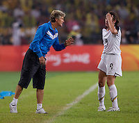 Pia Sundhage, Heather O'Reilly. The USWNT defeated Brazil, 1-0, to win the gold medal during the 2008 Beijing Olympics at Workers' Stadium in Beijing, China.