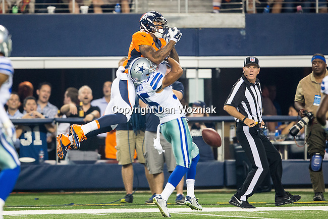 Denver Broncos wide receiver Cody Latimer (14) and Dallas Cowboys defensive back Tyler Patmon (35) in action during the pre-season game between the Denver Broncos and the Dallas Cowboys at the AT & T stadium in Arlington, Texas. Denver leads Dallas 10 to 3 at halftime.