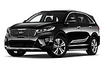 Stock pictures of low aggressive front three quarter view of a 2018 KIA Sorento GT Line 5 Door SUV