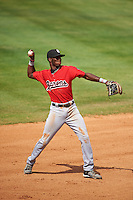 Birmingham Barons shortstop Tim Anderson (7) warmup throw to first during a game against the Biloxi Shuckers on May 24, 2015 at Joe Davis Stadium in Huntsville, Alabama.  Birmingham defeated Biloxi 6-4 as the Shuckers are playing all games on the road, or neutral sites like their former home in Huntsville, until the teams new stadium is completed in early June.  (Mike Janes/Four Seam Images)
