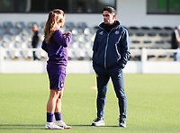 Sakina Ouzraoui Diki  (7) of Anderlecht and Head coach Johan Walem of Anderlecht in conversation during the warm up before a female soccer game between Oud Heverlee Leuven and RSC Anderlecht on the fifth matchday of the 2021 - 2022 season of Belgian Womens Super League , sunday 3 October 2021  in Leuven , Belgium . PHOTO SPORTPIX.BE   SEVIL OKTEM