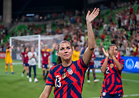AUSTIN, TX - JUNE 16: Alex Morgan #13 of the USWNT waves to the crowd during a game between Nigeria and USWNT at Q2 Stadium on June 16, 2021 in Austin, Texas.