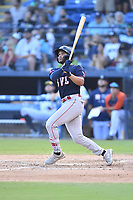 Greenville Drive Brandon Howlett (35) swings at a pitch during a game against the Asheville Tourists on July 16, 2021 at McCormick Field in Asheville, NC. (Tony Farlow/Four Seam Images)