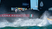 15th March 2021; Waitemata Harbour, Auckland, New Zealand;  Luna Rossa Prada Pirelli Team approach the start box entry for race seven against Emirates Team New Zealand on day five of the America's Cup presented by Prada