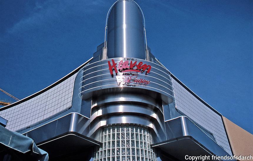 Horton Plaza: Heaven Pop Cuisine. Glass block and streamline moderne design. Photo Jan. 1987.