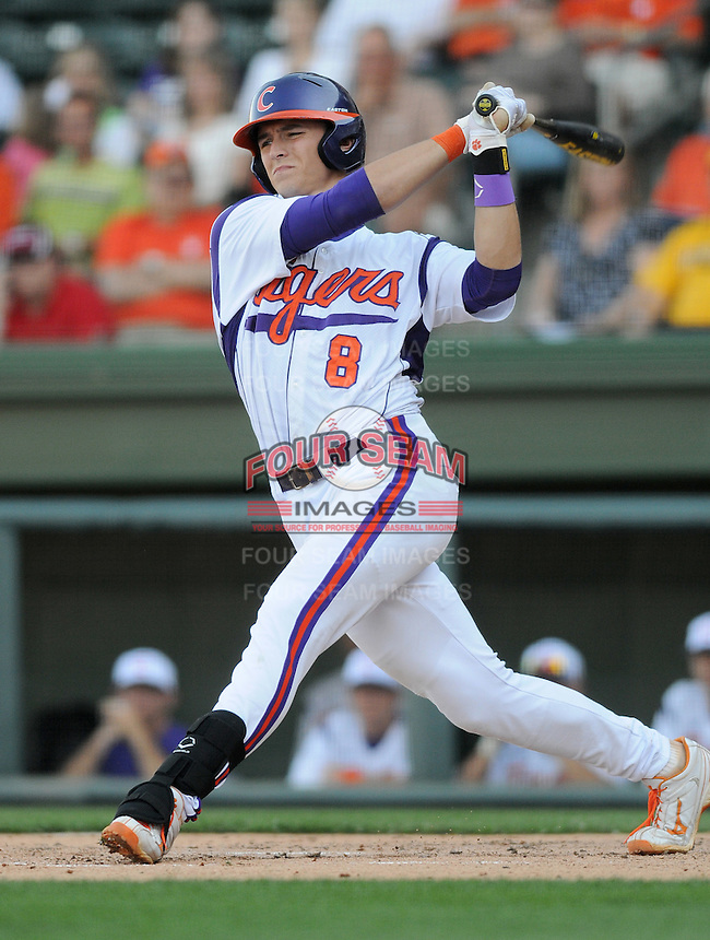 Third baseman Richie Shaffer (8) of the Clemson Tigers in a game against the Elon College Phoenix on March 21, 2012, at Fluor Field at the West End in Greenville, South Carolina. Clemson won 4-2, giving head coach Jack Leggett his 1,200th win. (Tom Priddy/Four Seam Images)