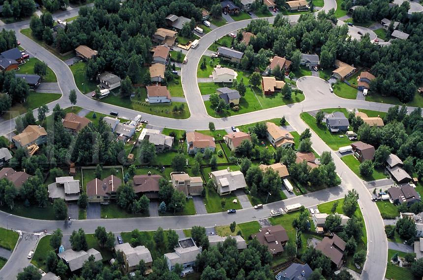 Aerial view of neighborhoods, Anchorage, Alaska. Anchorage Alaska United States neighborhoods.